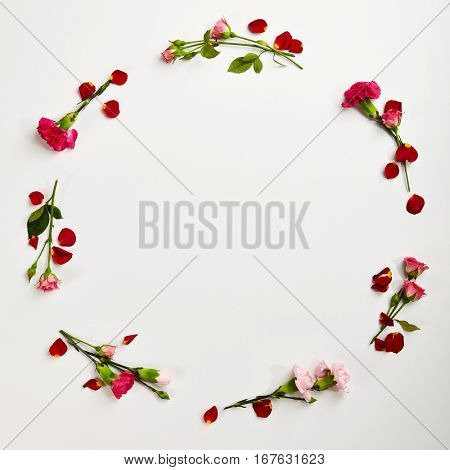 Creative Frame with Natural Flower. Wedding Day. Minimal Love Concept. Top View. Flat Lay