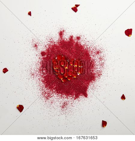 Love Concept - Creative Valentines Day Background with Heart Shape and Natural Flower Petal. Wedding Day. Minimal Love Concept. Top View. Flat Lay