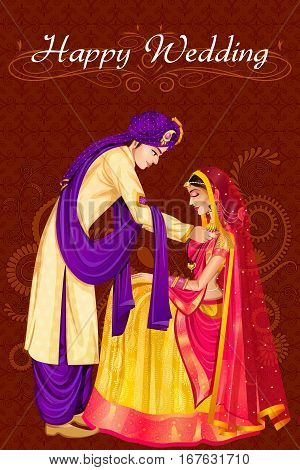 Vector design of Indian man tieing Mangala Sutra to woman in wedding ceremony of India