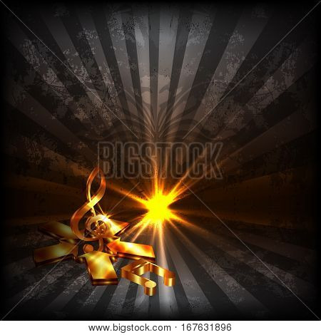 Vector illustration of a music background with a gold treble clef in the star of the arrows on grunge dark background with sparkles and glitter.