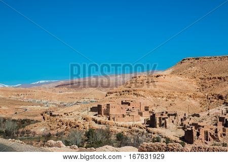 Traditional small Berber town in Morocco near desert