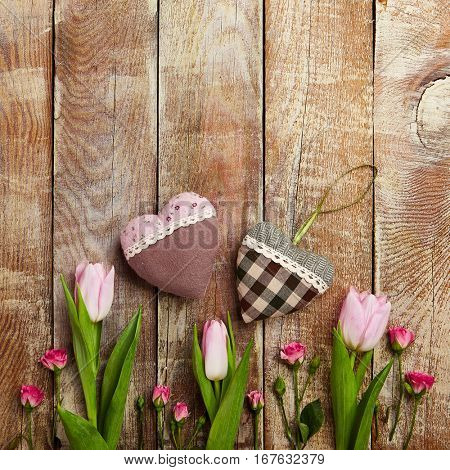 Love Concept - Creative Valentines Day Layout with Tulip, Rose  and Heart on Wooden Background. Wedding Day. Minimal Love Concept. Top View. Flat Lay
