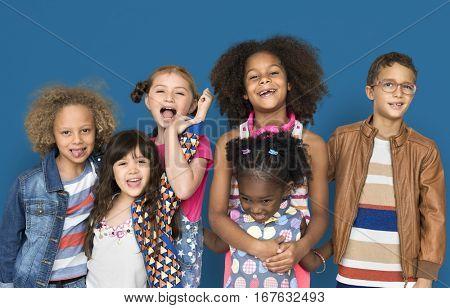 Diverse Kids Studio Portrait Concept