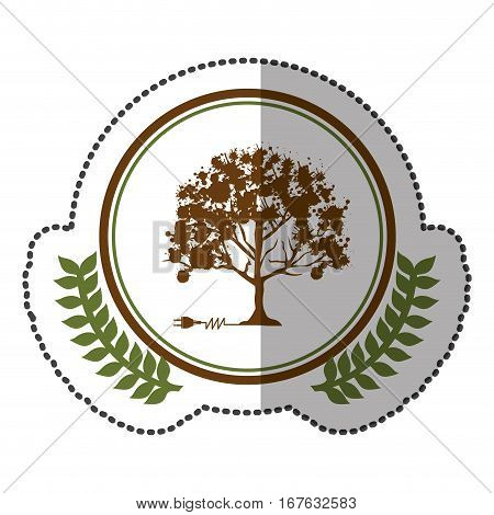 middle shadow sticker colorful with olive crown with tree and plug connector in circle vector illustration