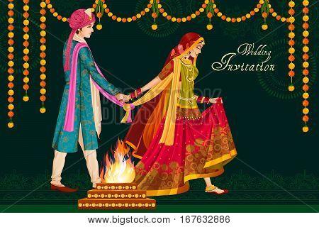 Vector design of Indian couple in wedding Satphera ceremony of India