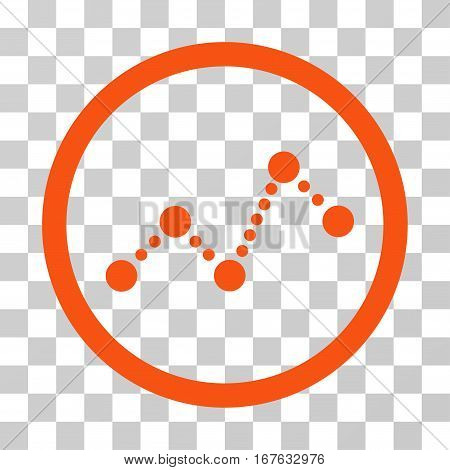 Dotted Chart rounded icon. Vector illustration style is flat iconic symbol inside a circle orange color transparent background. Designed for web and software interfaces.