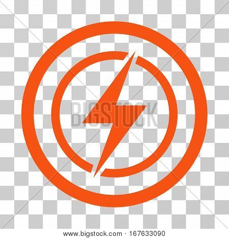 Electrical Hazard rounded icon. Vector illustration style is flat iconic symbol inside a circle orange color transparent background. Designed for web and software interfaces.