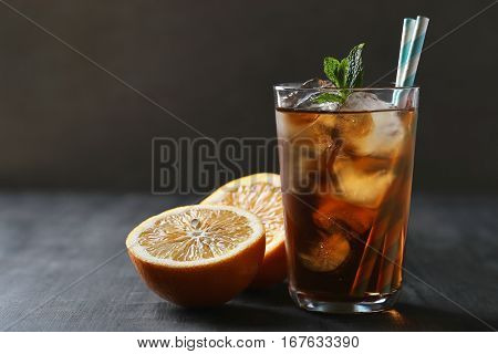 Refreshing drink on the table