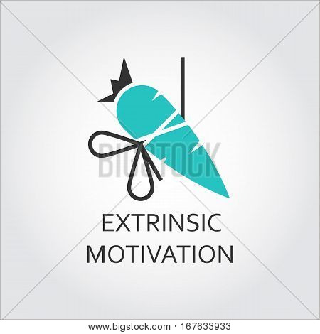 Vector icon of carrot with bow, extrinsic motivation concept. Illustration graphics for websites, mobile apps and other design needs. Simple green and black label in flat style