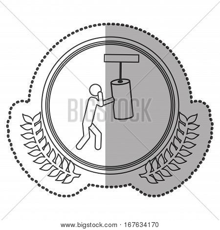 middle shadow sticker monochrome with olive crown with man knocking bag weight in circle vector illustration