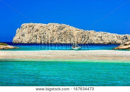 amazing nature and turquoise sea of Greece. Small island Konoupa