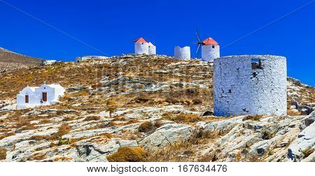 Authentic Greece - windmills of Chora village in Amorgos island