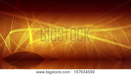 Fire. Abstract background, fractal design over water reflection. cosmic and fantasy backdrop