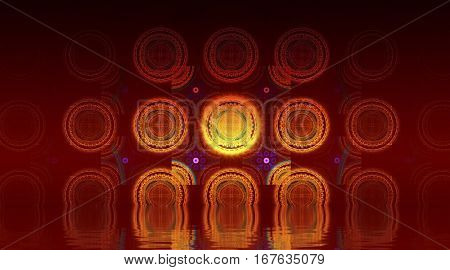 Bright forms. Abstract background, fractal design over water reflection. cosmic and fantasy backdrop