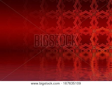 Hell. Abstract background, fractal design over water reflection. cosmic and fantasy backdrop