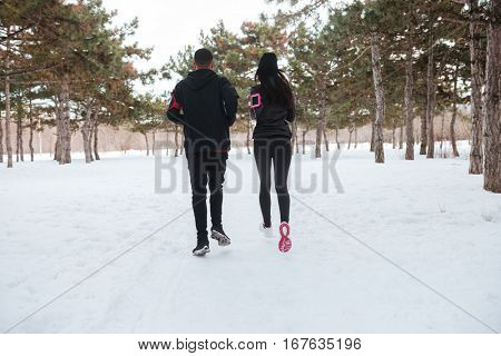 Back view of young couple jogging in forest together in winter