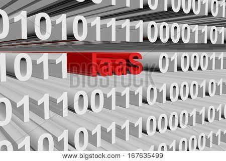 IaaS in the form of binary code, 3D illustration