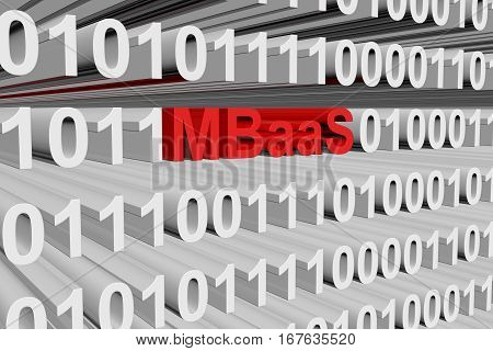 MBaaS as a binary code 3D illustration
