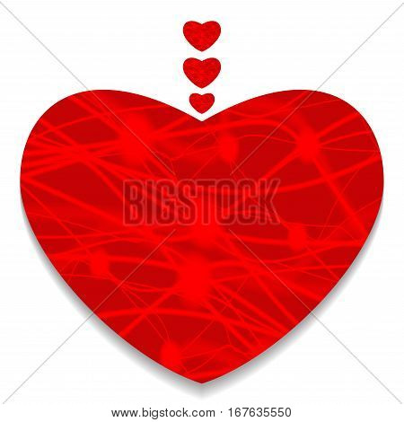 Red heart. Valentine's day greeting card. Vector illustration.