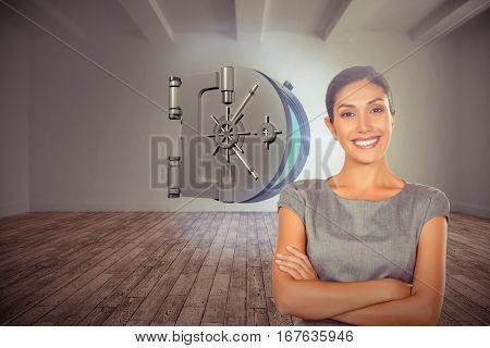 Portrait of happy businesswoman against digital room