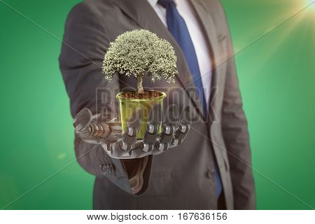 Potted tree over white background against green vignette 3d