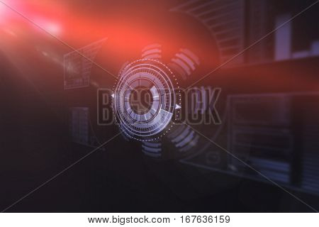 Composite image of illuminated volume knob over black background 3d