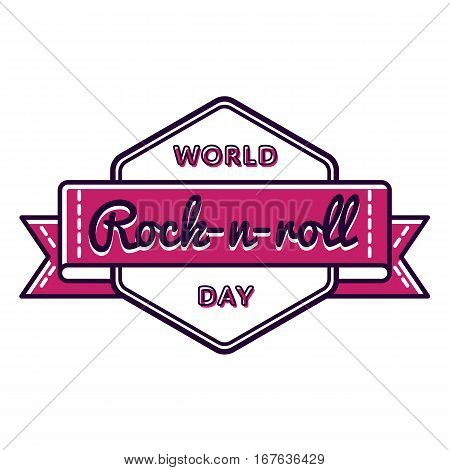 World Rock-n-roll day emblem isolated vector illustration on white background. 13 april world musical holiday event label, greeting card decoration graphic element