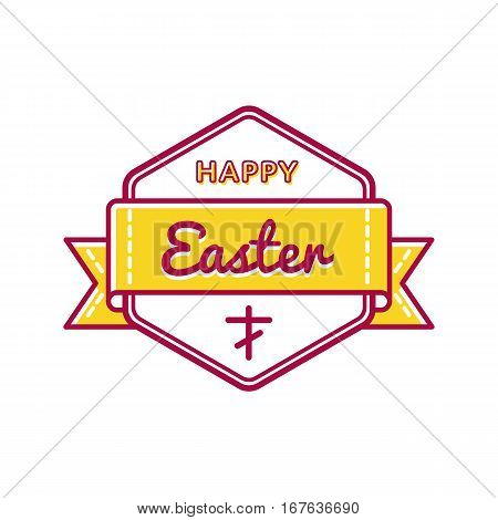 Happy Easter emblem isolated vector illustration on white background. 16 april world christianity holiday event label, greeting card decoration graphic element