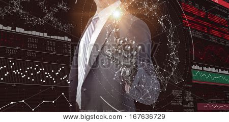 Computer graphic image of businessman with robotic hand against genes diagram on black background 3d