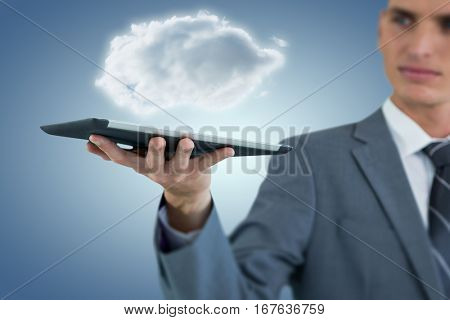Businessman holding digital tablet while looking away against purple vignette 3d