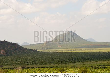 High view of the savannah and hills of East Tsavo park in Kenya