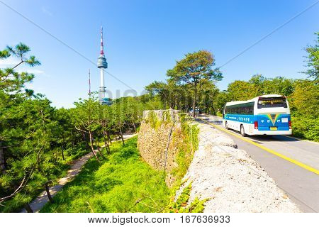 Seoul N Namsan Tower City Wall Nature Bus Road H