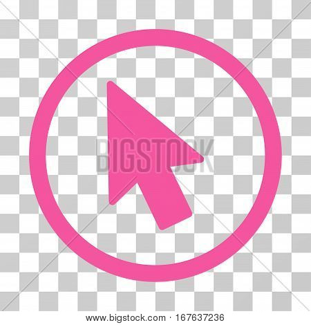 Mouse Pointer rounded icon. Vector illustration style is flat iconic symbol inside a circle pink color transparent background. Designed for web and software interfaces.