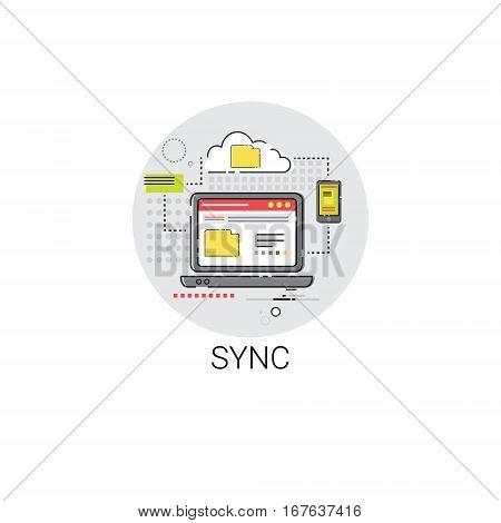 Sync Synchronize Internet Cloud Technology Icon Vector Illustration