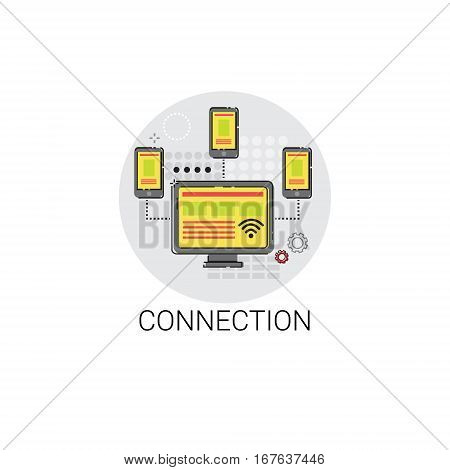 Connection Sync Synchronize Internet Cloud Technology Icon Vector Illustration