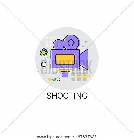 Shooting Camera Film Production Industry Icon Vector Illustration