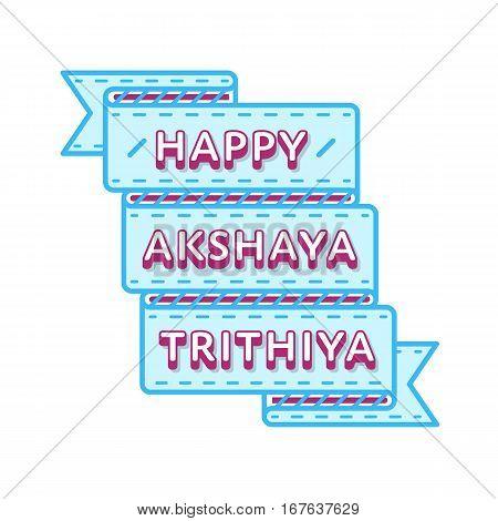 Happy Akshaya Trithiya emblem isolated vector illustration on white background. 28 april indian religious holiday event label, greeting card decoration graphic element