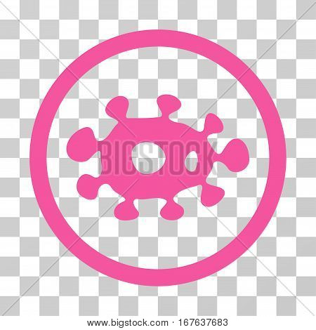 Virus rounded icon. Vector illustration style is flat iconic symbol inside a circle pink color transparent background. Designed for web and software interfaces.