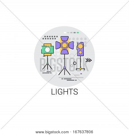 Lights Film Production Industry Icon Vector Illustration