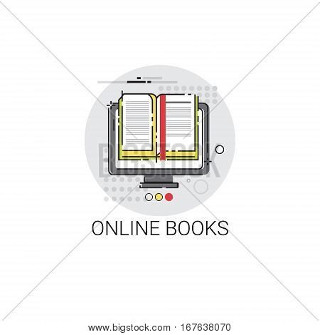 Knowledge Elearning Education Online Books Icon Vector Illustration