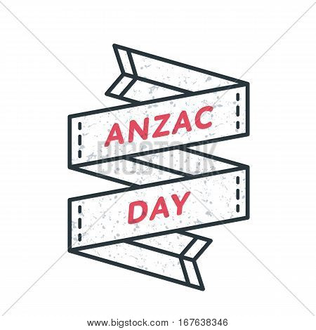 Anzac day emblem isolated vector illustration on white background. 25 april australian patriotic holiday event label, greeting card decoration graphic element