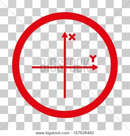 Coordinate Axis rounded icon. Vector illustration style is flat iconic symbol inside a circle red color transparent background. Designed for web and software interfaces.