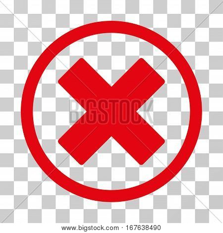 Delete X-Cross rounded icon. Vector illustration style is flat iconic symbol inside a circle red color transparent background. Designed for web and software interfaces.
