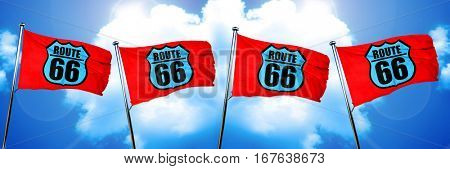Route 66 sign flag, 3D rendering