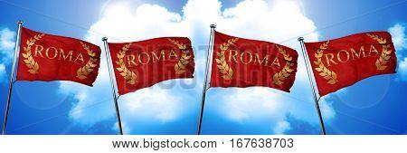 roma laurel wreath flag, 3D rendering