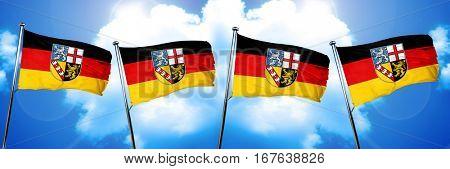 Saarland flag, 3D rendering