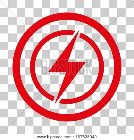 Electrical Hazard rounded icon. Vector illustration style is flat iconic symbol inside a circle red color transparent background. Designed for web and software interfaces.