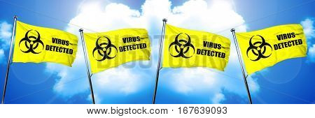 Virus detected flag, 3D rendering