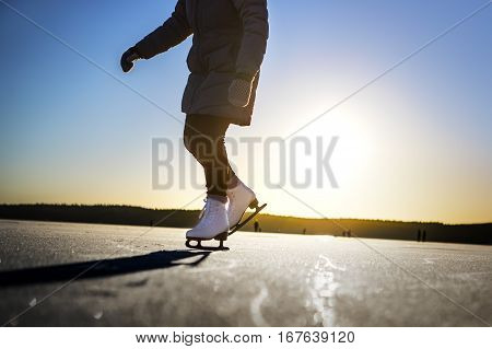 Winter woman ice skating ice workout skate landscape conceptuall concept sigtuna sweden