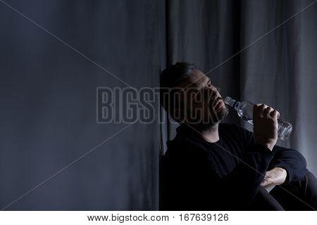 Drank Man Sitting Alone